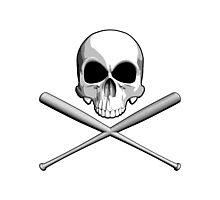 Skull and Baseball Bats Photographic Print