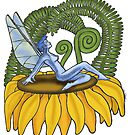 Fairy Sitting on Flower by Asia Barsoski