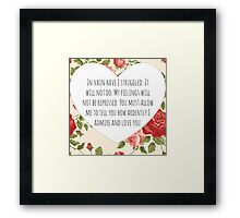 Darcy's proposal Framed Print