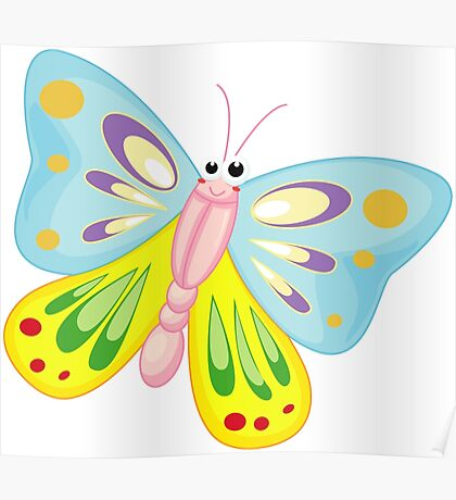 Cute Funny Cartoon Flying Colorful Butterfly  Character Doodle Animal Drawing Poster