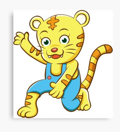 Cute Funny Cartoon Silly Kung Fu  Cheetah - Tiger Character Doodle Animal Drawing Canvas Print