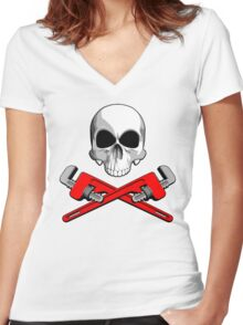 Skull with Crossed Pipe Wrenches Women's Fitted V-Neck T-Shirt