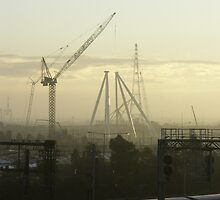 Melbourne's ferris wheel in the making. by Tim Derbyshire