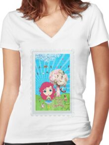 Daydreams Really Do Come True - Dark Pink Hair Version Women's Fitted V-Neck T-Shirt