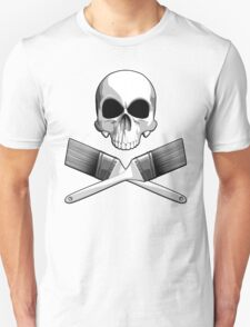 Skull with Crossed Paint Brushes Unisex T-Shirt