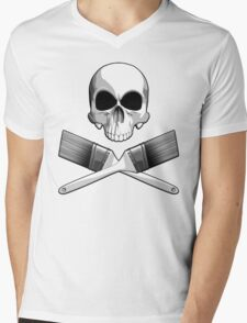 Skull with Crossed Paint Brushes Mens V-Neck T-Shirt