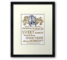 Shakespeare Romeo & Juliet Sweet Sorrow Quote Framed Print