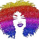 Rainbow Afro Hair | Faux Glitter  by Cherie Balowski