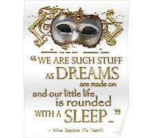 Shakespeare The Tempest Dreams Quote Poster
