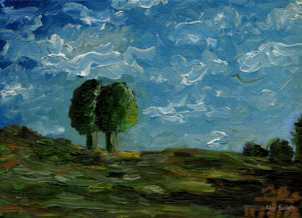 Two trees on the hill by Abir Saleh