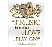 Shakespeare Twelfth Night Love Music Quote Poster