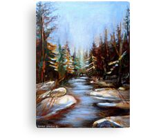 BEST SELLING CANADIAN PRINTS AND PAINTINGS WINTER LANDSCAPE TREES AND WATER BY CANADIAN ARTIST CAROLE SPANDAU Canvas Print