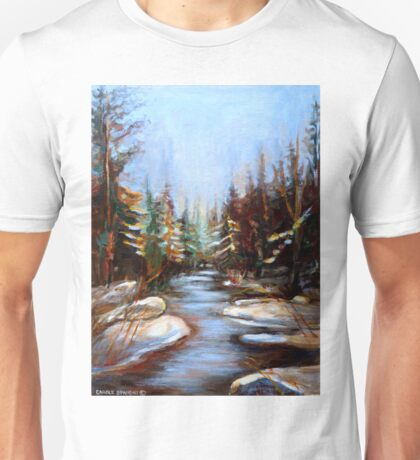BEST SELLING CANADIAN PRINTS AND PAINTINGS WINTER LANDSCAPE TREES AND WATER BY CANADIAN ARTIST CAROLE SPANDAU Unisex T-Shirt