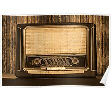 Old radio. Front view Poster