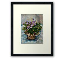 BEST SELLING CANADIAN PAINTINGS FLORAL STILL LIFE AFRICAN VIOLET BY CANADIAN ARTIST CAROLE SPANDAU Framed Print
