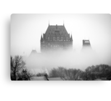 A Foggy Morning engulfs Chateau Frontenac Black and White Canvas Print