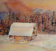 BEAUTIFUL CANADIAN WINTER LANDSCAPES BEAUTIFUL SKIES SNOWSCENE PAINTING by Carole  Spandau