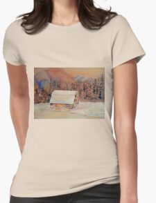BEAUTIFUL CANADIAN WINTER LANDSCAPES BEAUTIFUL SKIES SNOWSCENE PAINTING Womens Fitted T-Shirt