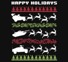 Funny Military Vehicles Being Pulled By Holiday Reindeer T-Shirt and Accessories T-Shirt