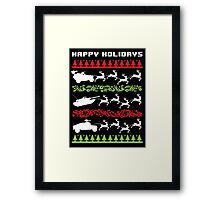Funny Military Vehicles Being Pulled By Holiday Reindeer T-Shirt and Accessories Framed Print