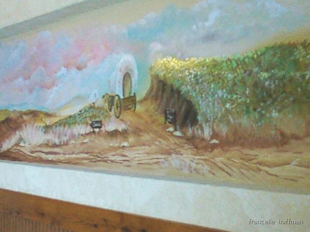 wall mural of wagon train by francelle huffman by francelle  huffman
