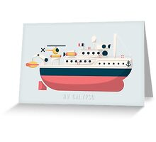 Minimalist Jacques Cousteau's Research Vessel Calypso Greeting Card