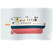 Minimalist Jacques Cousteau's Research Vessel Calypso Poster