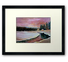 CABIN RETREAT CANADIAN ART CANADIAN PAINTINGS BEST SELLING WINTER SCENE BY CANANDAIN ARTIST CAROLE SPANDAU Framed Print