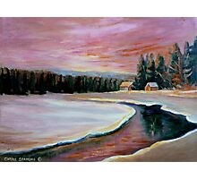 CABIN RETREAT CANADIAN ART CANADIAN PAINTINGS BEST SELLING WINTER SCENE BY CANANDAIN ARTIST CAROLE SPANDAU Photographic Print