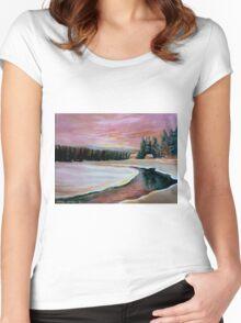CABIN RETREAT CANADIAN ART CANADIAN PAINTINGS BEST SELLING WINTER SCENE BY CANANDAIN ARTIST CAROLE SPANDAU Women's Fitted Scoop T-Shirt