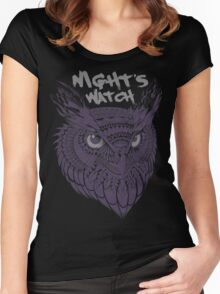 Owl Head Illustration Women's Fitted Scoop T-Shirt