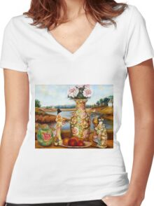 BEAUTIFUL STILL LIFE PAINTINGS AND PRINTS BY CANADIAN ARTIST CAROLE SPANDAU Women's Fitted V-Neck T-Shirt