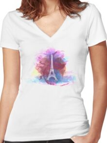 Eiffel Tower - Single Line Women's Fitted V-Neck T-Shirt
