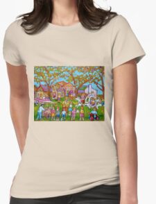 BEST SELLING CHILDREN'S PRINTS AND PAINTINGS HAPPY SCENE FOR CHILD BY CAROLE SPANDAU Womens Fitted T-Shirt