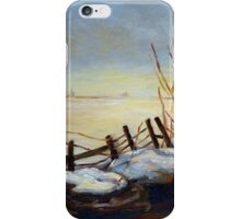 CANADIAN LANDSCAPE ART AND CANADIAN LANDSCAPE PAINTING FROZEN LAKE IN QUEBEC BY CAROLE SPANDAU iPhone Case/Skin