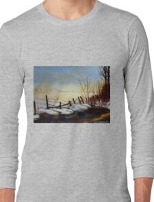 CANADIAN LANDSCAPE ART AND CANADIAN LANDSCAPE PAINTING FROZEN LAKE IN QUEBEC BY CAROLE SPANDAU Long Sleeve T-Shirt