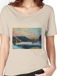 BEST CANADIAN PRINTS AND PAINTINGS WINTER LANDSCAPES GLORIOUS WINTER SUNRISE BY CAROLE SPANDAU Women's Relaxed Fit T-Shirt