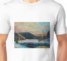 BEST CANADIAN PRINTS AND PAINTINGS WINTER LANDSCAPES GLORIOUS WINTER SUNRISE BY CAROLE SPANDAU Unisex T-Shirt