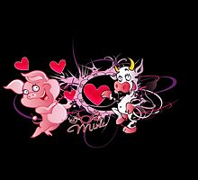 Be mine - cow and pig by harietteh