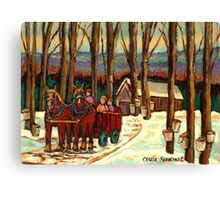 VERMONT SUGAR SHACK BEAUTIFUL WINTER LANDSCAPE  Canvas Print