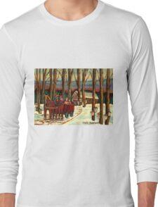 VERMONT SUGAR SHACK BEAUTIFUL WINTER LANDSCAPE  Long Sleeve T-Shirt