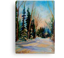 CANADIAN WINTER SCENE PAINTINGS WINTER ROAD BY CANADIAN ARTIST CAROLE SPANDAU Canvas Print