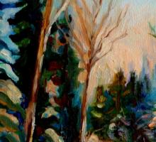 CANADIAN WINTER SCENE PAINTINGS WINTER ROAD BY CANADIAN ARTIST CAROLE SPANDAU Sticker