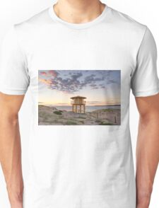 Lifeguard tower at the beach with pretty sunrise Unisex T-Shirt