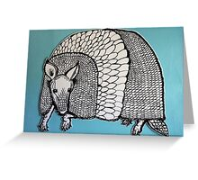 Black & White & Blue Armadillo Greeting Card