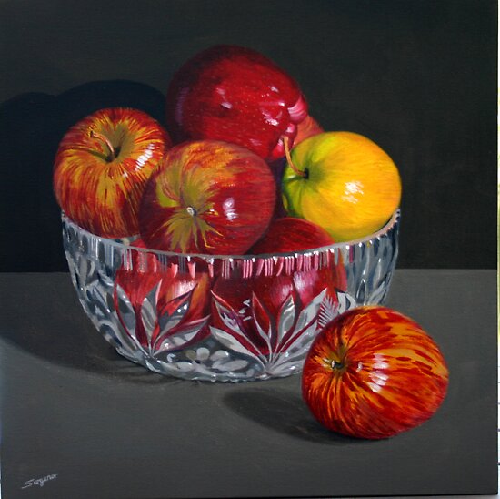 Apples in a crystal bowl by Freda Surgenor