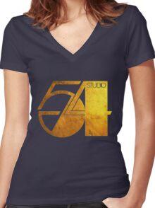 Studio 54 Golden Logo Women's Fitted V-Neck T-Shirt