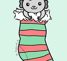Grey Guinea-pig in Christmas Stocking  by zoel