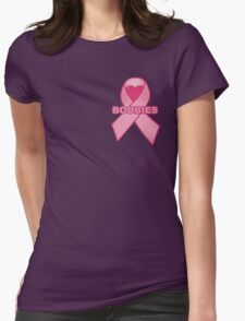 Boobies Ribbon Womens Fitted T-Shirt