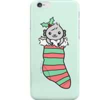 Grey Guinea-pig in Christmas Stocking  iPhone Case/Skin